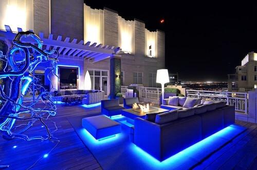 RGB strip lighting outdoors