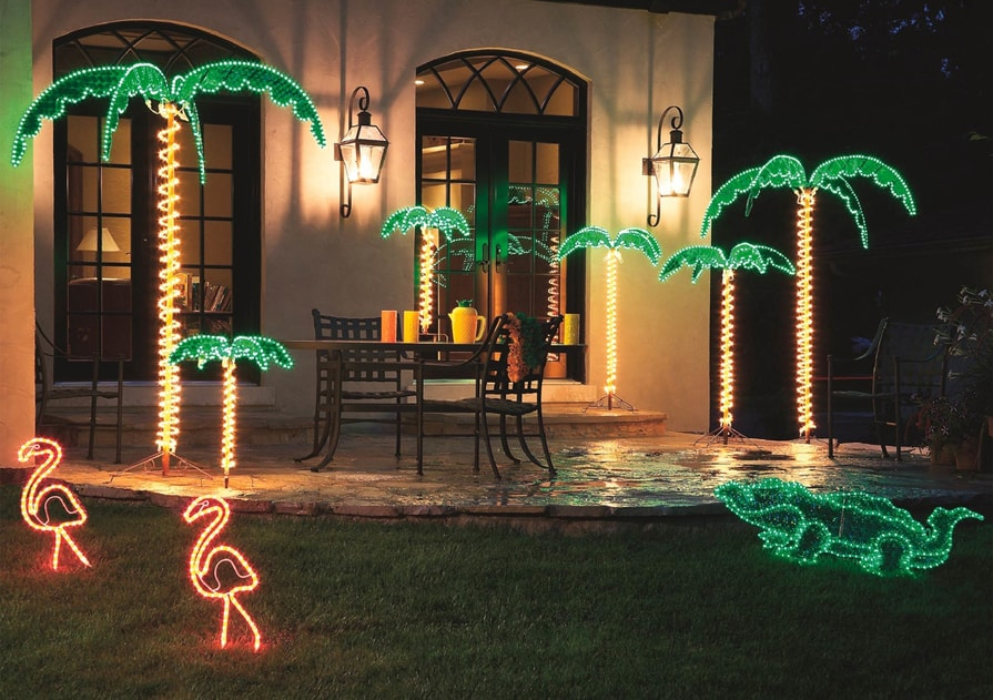 Palm Tree Rope Light Motif Display