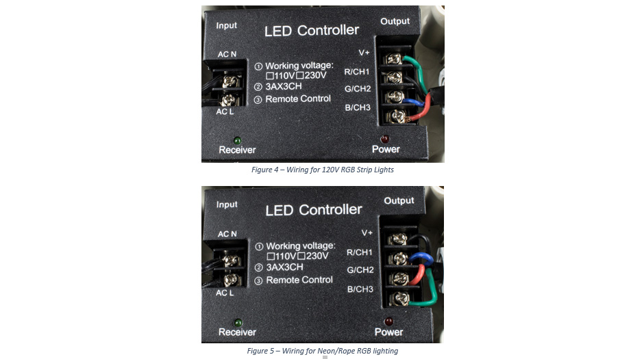 to see if the wiring inside the box matches the wiring for either the 120  volt strip lights (figure 4), or the 120 volt rope/neon lights (figure 5)